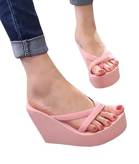 Amazon.com | Ferbia Slippers For Women Black Wedges Summer Casual Platform  Outdoor Flip Flops by | Platforms & Wedges