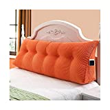 Mbd Nordic Household Solid Color Multi-Function Corn Corduroy Triangle Back Bedside Bay Window Long Pillow Sofa Large Cushion (Color : Orange, Size : 180CM)