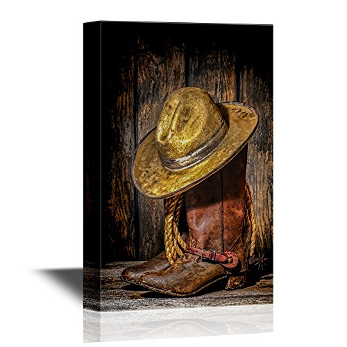 wall26 Retro Style Canvas Wall Art – American West Rodeo Cowboy Hat ATOP Worn and Muddy Leather Working Rancher Boots – Gallery Wrap Modern Home Decor Ready to Hang – 16×24 inches