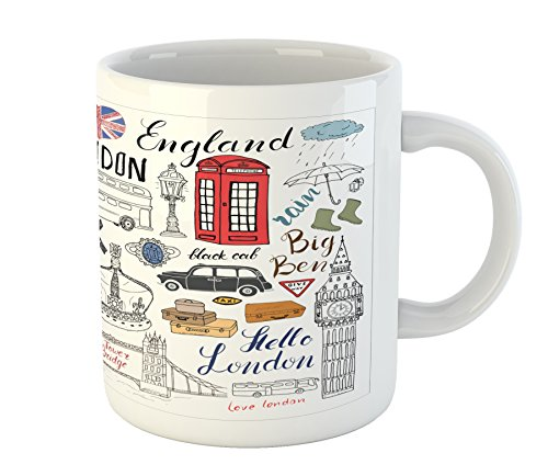 Ambesonne Doodle Mug, I Love London Double Decker Bus Telephone Booth Cab Crown of United Kingdom Big Ben, Printed Ceramic Coffee Mug Water Tea Drinks Cup, Multicolor