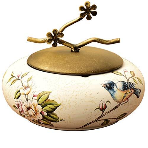 RMXMY Creativo Americano con Tapa cenicero de cerámica Estilo Europeo Grande Sala de Estar Retro joyero Caja de...