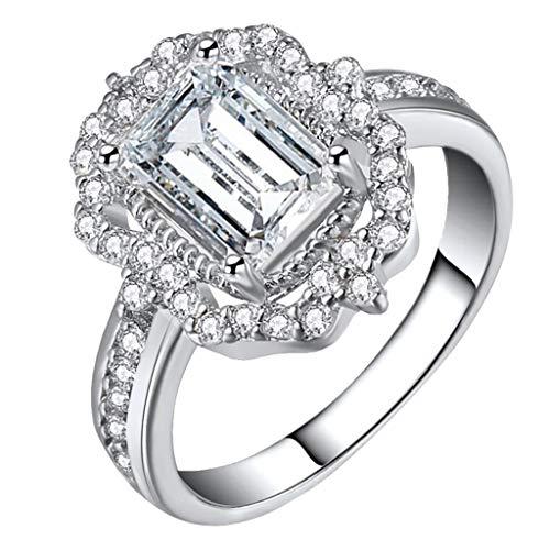 (FEDULK_ Clearance! Womens Halo Zircon Rhinestone Vintage Rings Fashion Elegant Jewelry Female Accessories(Silver, 10))
