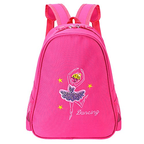 BAOHULU Toddler Backpack Ballet Dance Bag 9 Colors for Girls 2-8 Year (Hot Pink)