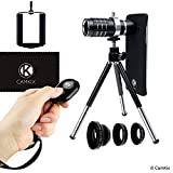 CamKix Lens Kit for Samsung Galaxy S7 and S7 Edge - 12x Telephoto Lens, Fisheye Lens, Macro Lens, Wide Angle Lens, Tripod, Phone Holder, Holder Ring, Hard Case (2x), Velvet Bag and Cleaning Cloth