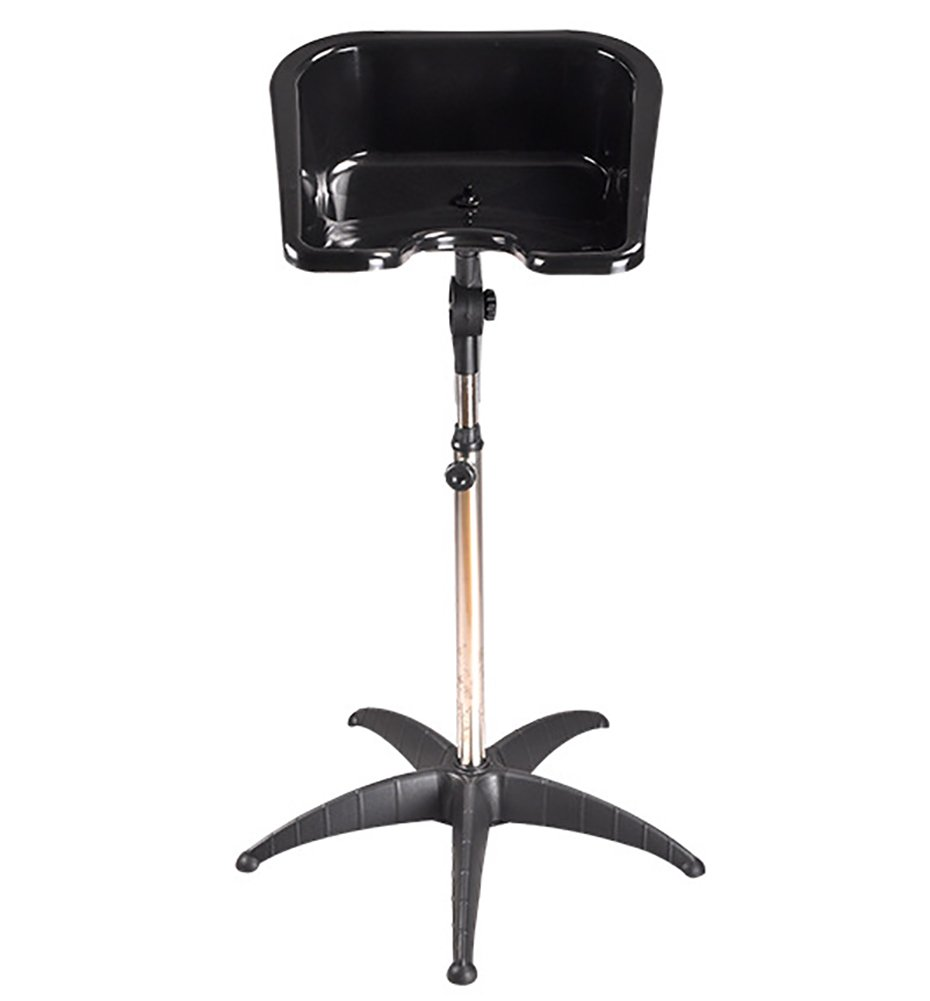 Portable Hair Shampoo Bowl Basin Height Adjustable Salon Sink Hair Treatment Bowl PP Material With Drain Hose Black