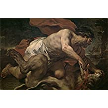 Oil painting 'Giordano Luca Sanson y el leon 1695 96 ' printing on Perfect effect canvas , 16 x 24 inch / 41 x 61 cm ,the best Game Room decor and Home decor and Gifts is this Cheap but High quality Art Decorative Art Decorative Prints on Canvas