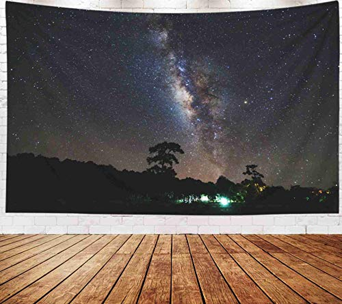 Fullentiart Wall Tapestry, Map Large Tapestry Wall Hanging 80x60inch Milky Way Silhouette Tree National Thailand Long Exposure Grain PHU Hin Rong Kla Decoration Room Holiday Décor Tapestries