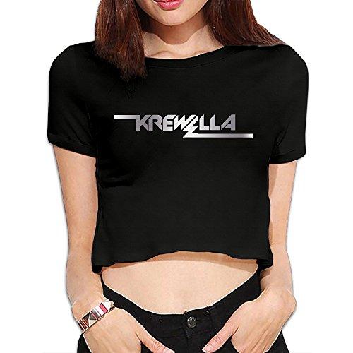 Price comparison product image MRT-La Women's Krewella Band Platinum Logo Navel T Shirt - Black