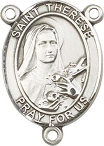Sterling Silver Saint therese of Lisieux Rosary Centerpiece Medal, 3/4 Inch