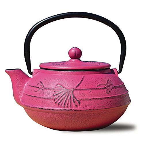 Old Dutch Cast Iron Ginkgo Teapot, 22-Ounce, Fuchsia (Pack of 1)