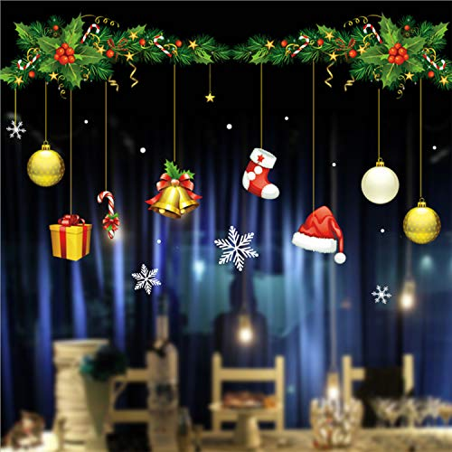 Gusatanhati Christmas Window Sticker Xmas Balls and Snowflake Window Clings Christmas Boots Bell Window Decals Christmas Decorations for Home Office Shop Window Display (Shop Christmas Window Decorations Display)
