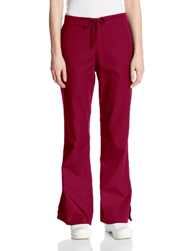 Cherokee Women's Fashionable Flare Leg Drawstring Pant, Wine, Small Petite