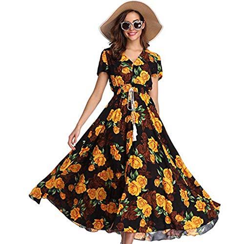 (Toponly Women Summer Boho Floral Short Sleeves Maxi Dress Button Up Spliced Drawstring Beach Party Long Sundress)