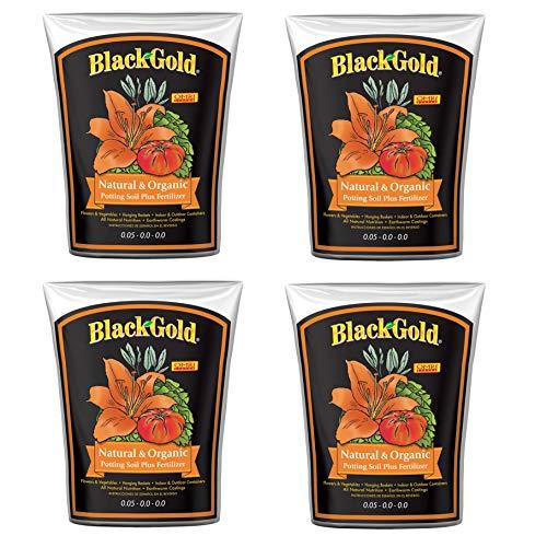 SunGro Black Gold 2 Cu Ft Natural & Organic Potting Soil + Fertilizer (4 Pack) (Black Gold Soil 2 Cubic Feet)