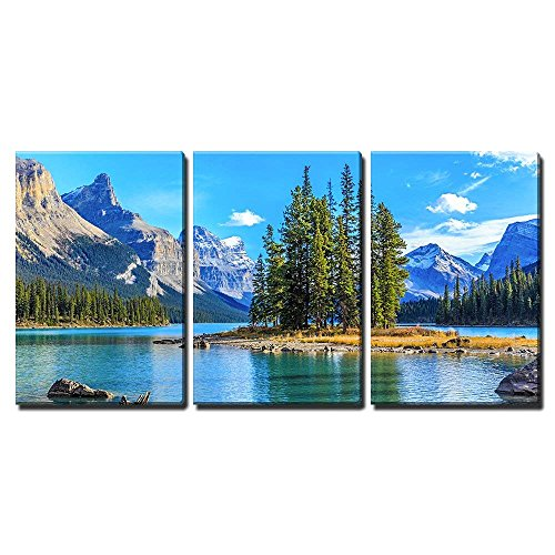 - wall26 - 3 Piece Canvas Wall Art - Spirit Island in Maligne Lake - Modern Home Decor Stretched and Framed Ready to Hang - 24
