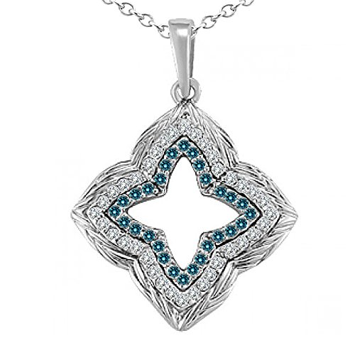 0.25 Carat Blue Diamond Fancy Star Stylis Pendant Necklace With 18