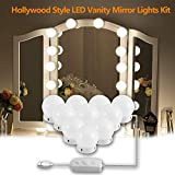vanity lighting ideas Hollywood Style LED Vanity Mirror Lights Kit, DIY Vanity Mirror Light with 10 Dimmable Light Bulbs for Makeup Dressing Table and Power Supply Plug in Lighting Fixture Strip– White(No Mirror )