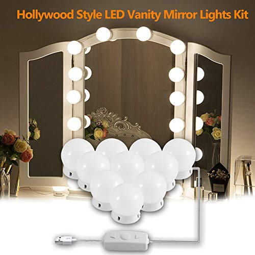 Hollywood Style LED Vanity Mirror Lights Kit, DIY Vanity Mirror Light with 10 Dimmable Light Bulbs for Makeup Dressing Table and Power Supply Plug in Lighting Fixture Strip– White(No Mirror )