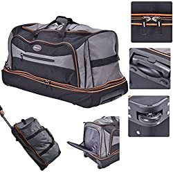 """Eight24hours 30"""" Drop Bottom Rolling Wheeled Duffel Bag Carry On Luggage Travel Suitcase"""