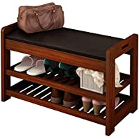 Storage Bench with Seat Cushion, Shoe Cabinet Storage Unit Bench (Walnut)