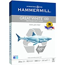 Hammermill Paper, Great White 100% Recycled Printer Paper, 20lb, 92 Bright, 8.5 x 11, Letter, 92 Bright, 500 Sheets / 1 Ream (086790R), Made in The USA