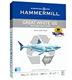 Hammermill Paper Great White 100% Recycled Copy Paper, 8.5 x 11 Inch,  500 Sheets /1 Ream (086790)