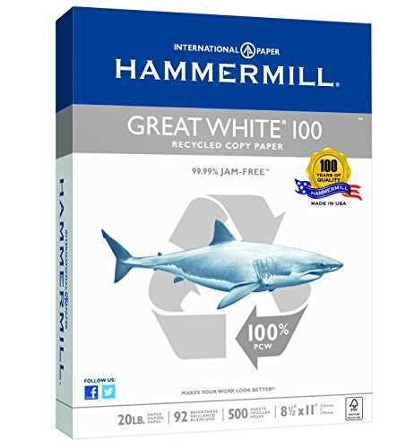 Hammermill Paper, Great White, 100% Recycled Copy Paper, 20lb, 8.5 x 11, Letter, 92 Bright, 500 Sheets / 1 Ream (086790R) Made In The USA