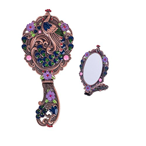 Moiom Vintage Style Foldable Oval Peacock Pattern Makeup Hand Table Mirror Copper Red
