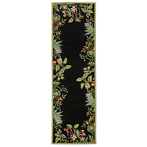 Safavieh Chelsea Collection HK295B Hand-Hooked Black and Green Premium Wool Runner (2'6