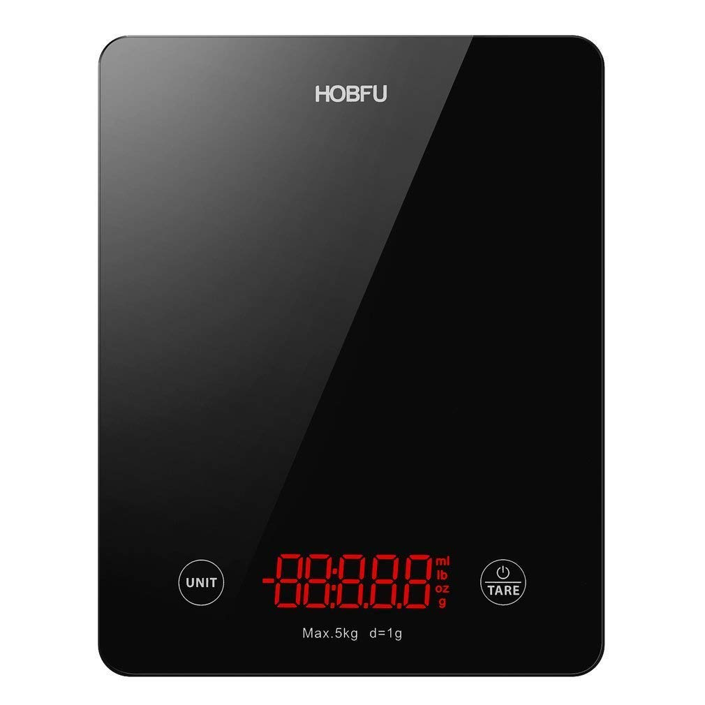 Kitchen Scale - HOBFU Food Scale 5kg/1g Touch Sensors, Electronic Cooking Scale with Tempered Glass Backlit LED Display, Precise Tare, Auto-zero, Auto-off Functions (Black)