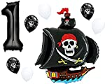 Pirate Ship Birthday Balloon Decorations with Black #1-9 Number Bundle: 36'' Black Skull Pirate Ship Foil Balloon with (1) 40'' Black Number & (3 Each) White & Black Skulls by PartyBox! (1st Birthday)