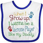 Inktastic - Lacrosse Player like Daddy Baby Bib White/Royal