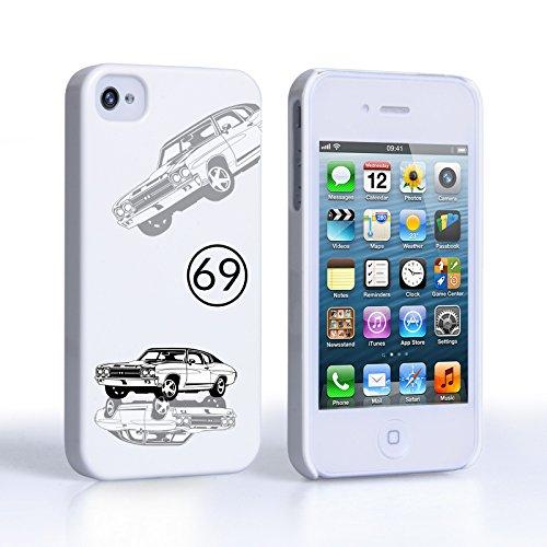 Caseflex iPhone 4 Hart Hülle Weiss Chevrolet Chevelle Oldtimer Schtutzhülle