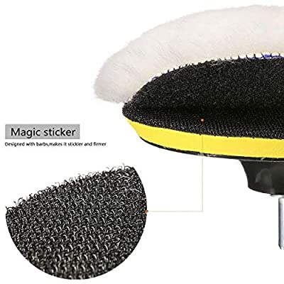 MATCC 5 Pcs 6 Inch Polishing Buffer Wool and Wheel Polishing Pad Woolen Polishing Waxing Pads Kits with M14 Drill Adapter: Automotive