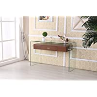 Best Quality Furniture CT97 Modern Glass Console Table with Drawer, Cherry