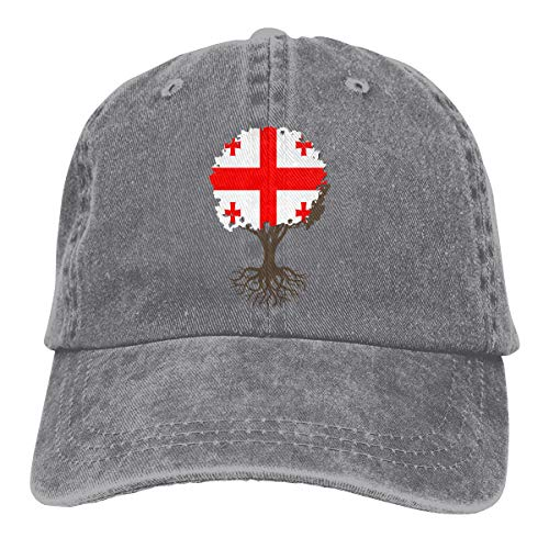 Tree of Life with Georgia Flag Men Women Classic Cotton Denim Baseball Cap Adjustable Outdoor Sports Hat ()