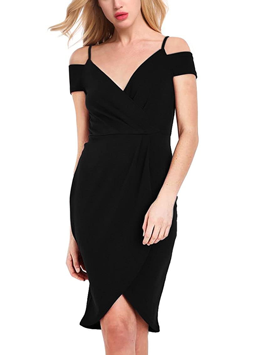 58e817ad456 Wrap Around Asymmetrical Bodycon Pencil Cocktail Party Dress  Design:Adjustable Spaghetti Strap ,High Low,Off The Shoulder ...