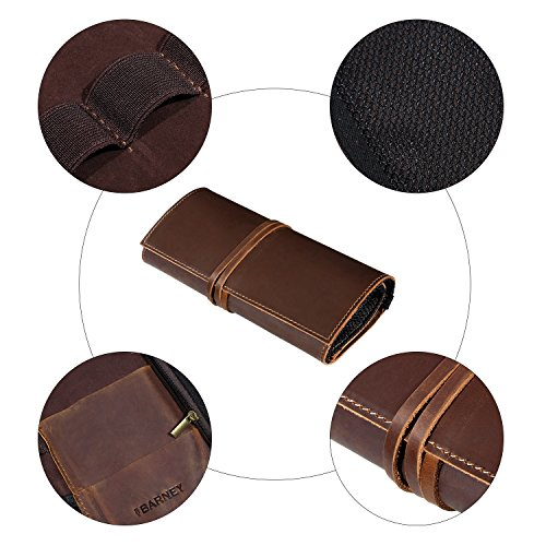 Genuine Crazy Horse Leather Electronics Organizer Roll Bag Travel Pouch for USB Cable, SD Card, Charger, Earphone, Passport, Cash, Coins, Hard Drive by BY BARNEY by BY BARNEY (Image #5)'