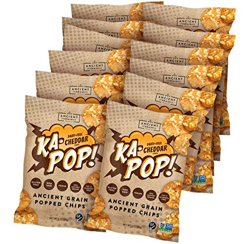 Ka-Pop! Popped Chips, Vegan Cheddar (1oz, Pack of 12) - Allergen Friendly, Ancient Grains, Gluten-Free, Paleo, Non-GMO, Healthy, Whole Grain Snacks