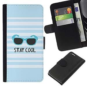 A-type (Stay Cool Summer Blue Sunglasses White) Colorida Impresión Funda Cuero Monedero Caja Bolsa Cubierta Caja Piel Card Slots Para Apple Iphone 5C