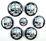 XtremeAmazing Chic 7 Pcs 82mm/74mm Weather-Proof Plated with RESIN coating Skull Style For BMW Badge Set