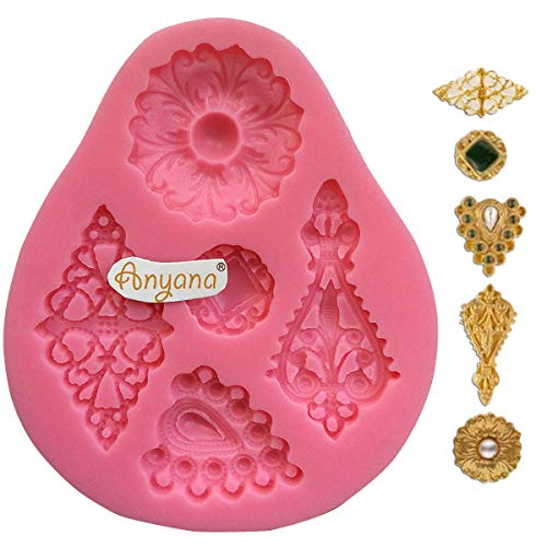 Anyana diamond Baking Molds mini jewel brooch Silicone Fondant molds cabochon Cake Decorating Tools Gumpaste gem cupcake topper decorations party resin Clay Chocolate Candy Mold Non stick easy to use