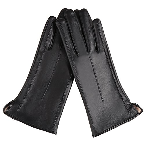 Zeagoo Touch Screen PU Leather Gloves Black Winter Warm Coral Fleece Gloves for Women