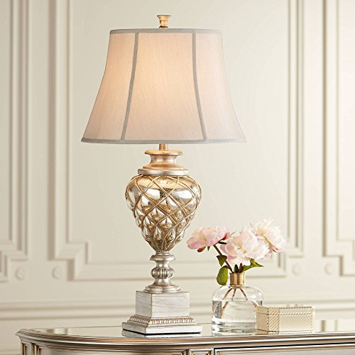 Luke Traditional Table Lamp with Nightlight LED Mercury Glass Off White Mist Fabric Bell Shade for Living Room Family - Barnes and Ivy ()