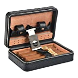 Portable Travel Cigar Humidor,Spanish Cedar Wood Portable Cigar Humidifier Case, Cigar Box with Cigar Cutter for 4 Cigars