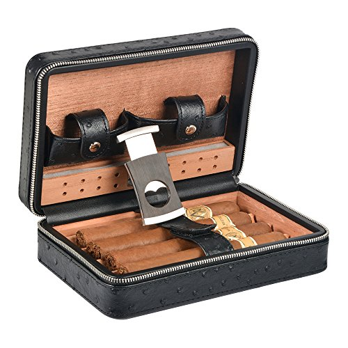 Volenx Portable Travel Cigar Case Leather Cigar Case Spanish Cedar Wood Portable Cigar Humidor, Cigar Box with Cigar Cutter and Humidifier for 4 Cigars ()