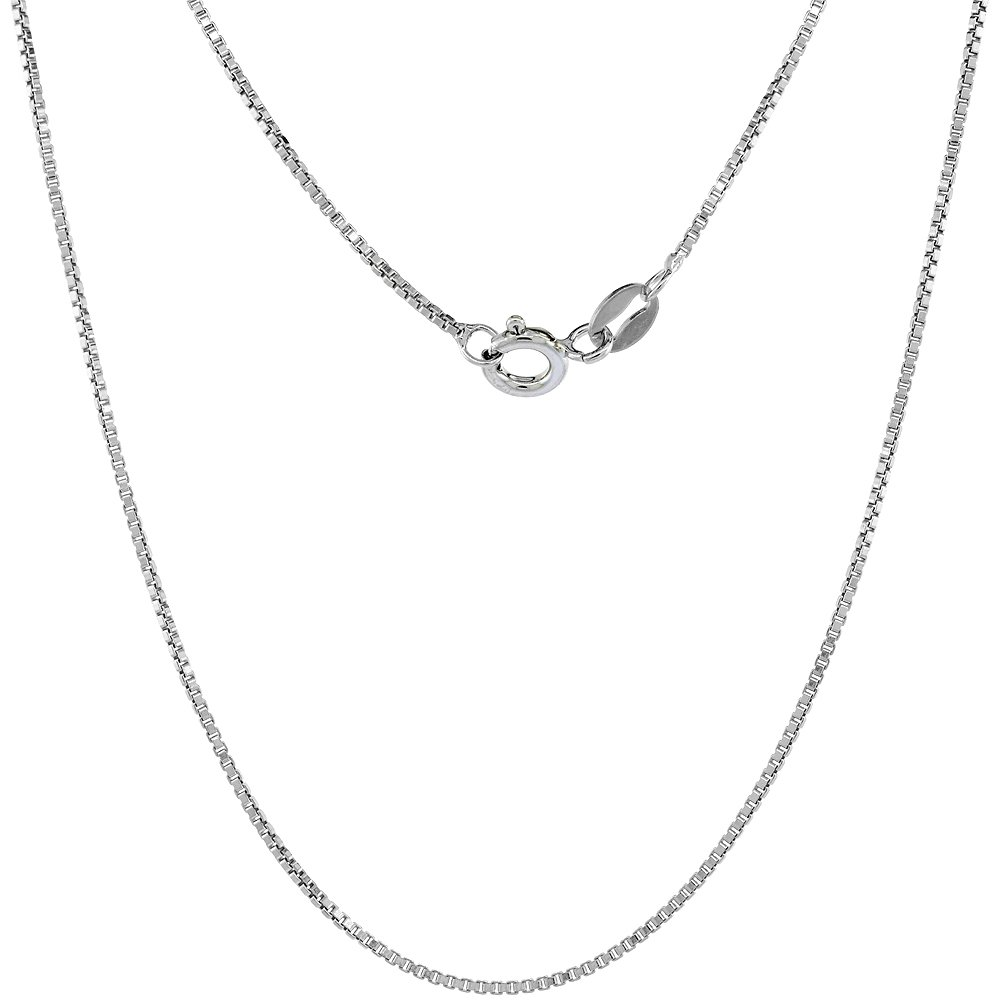 Sterling Silver 1mm Box Chain Necklace for Men and Women Assorted Finishes Nickel Free Italy 14-36 inch Lengths
