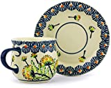 Product review for Polish Pottery Espresso Cup with Saucer 3 oz (Yellow Dandelions Theme)