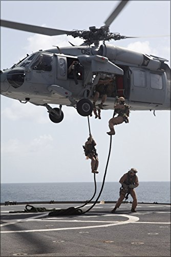 24x36 Poster . Marines Fast-Rope Mh-60S Sea Hawk Helicopter Usns Leroy Gumman