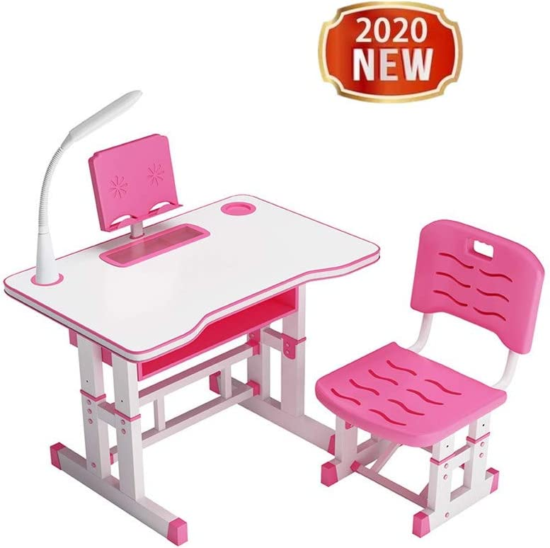 Kids Desk and Chair Set,2020 New Student Adjustable Study Desk Chair with Drawer Bookstand Storage and Touch Led for School Students, Children Study Table, Kids Desk and Chair Set